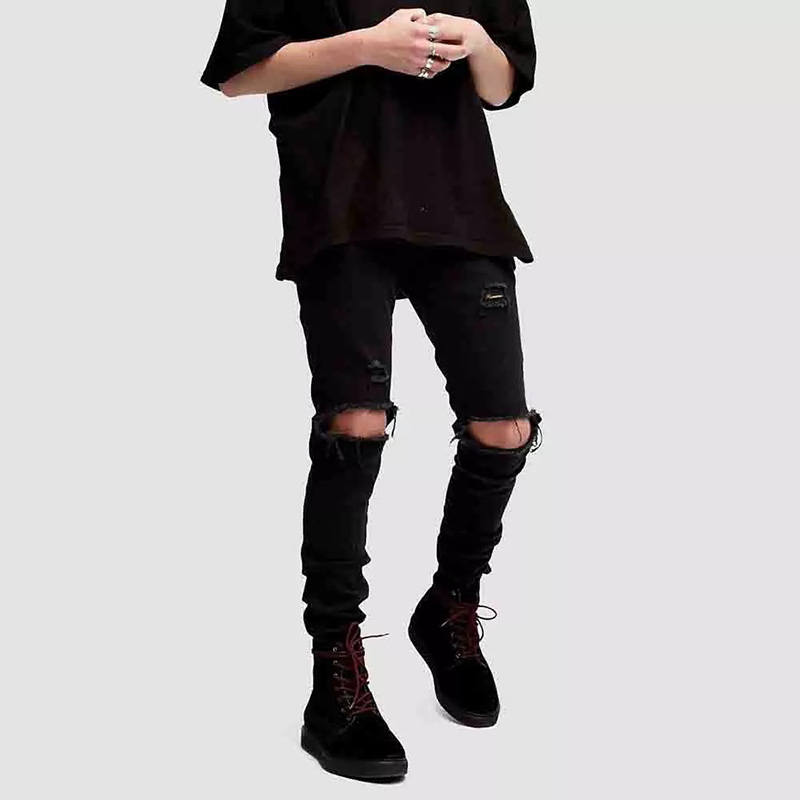 New Fashion High Street Men Black Jeans Skinny Ripped Stretch Slim Hip Hop Swag Man Casual Denim Biker Jeans Pants With Holes