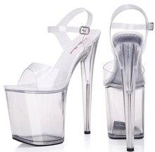 Women Summer Sandals Platform Sexy Transparent crystal Slipper Sandals  Super High heel  20cm Waterproof Model Big Yards Shoe