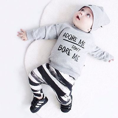 0-36M Newborn Baby Girl Boy Clothes Spring Autumn Long Sleeve Tops Striped Pants Leggings Hat 3pcs Outfit Bebes Clothing Set
