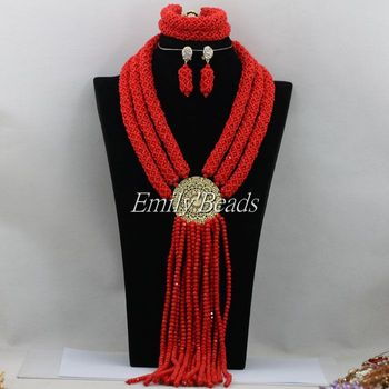 Red African Wedding Crystal Beads Jewelry Sets Handmade Nigerian African Costume Party Jewelry Sets Free Shipping AMJ946