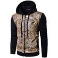 Moda leopard tiger patrón de impresión slim fit pu Chaqueta de cuero de los hombres encapuchados chaqueta de retazos ropa de hombre 2-colores PY1