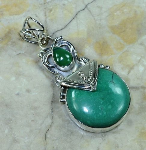 Hand make  Genuine Turquoise Pendant 100% Solid 925 Sterling Silver Gift BOX