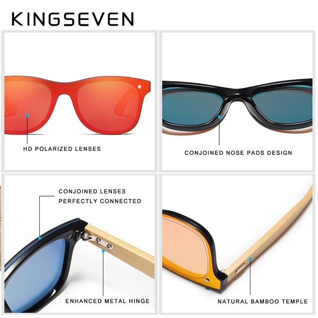 KINGSEVEN DESIGN 2019 Siamese lens Sunglasses Men Bamboo Women Brand Design Goggles Red Mirror Sun Glasses Shades Women's Glasses