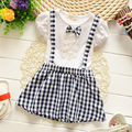 Children's bow baby girls dress plaid dress strap dress casual fashion clothing for girls baby clothes free shipping