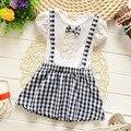 Crianças arco do bebê vestido xadrez meninas vestido de alça vestido casual moda vestuário para meninas roupas de bebê frete grátis