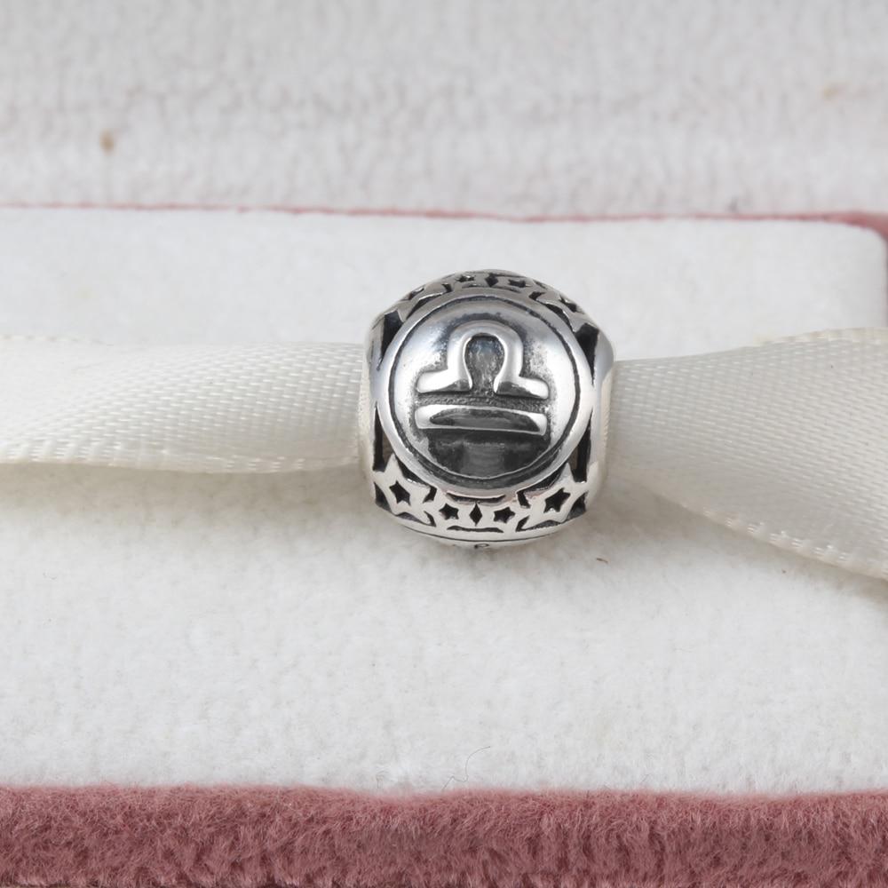 ZMZY Jewelry 12 Zodiac Libra Constellations 100% 925 Sterling Silver Charms Beads Fits Pandora Charms Bracelet