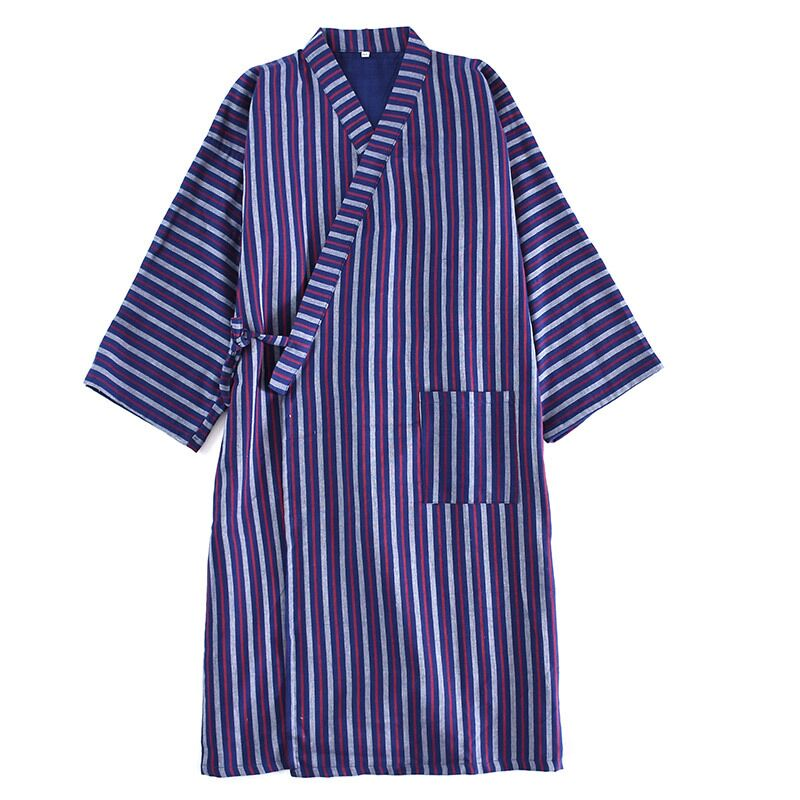 Soft Gauze Cotton Men's Robe Classic Japanese Style Kimono Robes Home Dressing Gown Sleepwear Male Striped Bathrobes