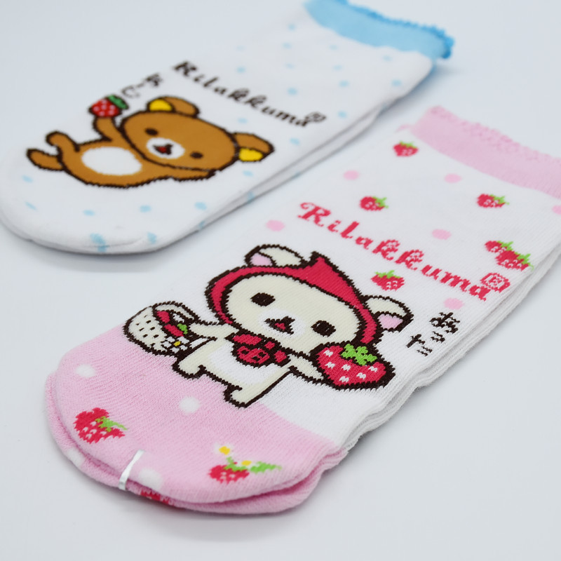 Women's Socks & Hosiery Cartoon Rilakkuma Printed Sock Strawberry Pattern Cute Fun Novelty Happy Women Cotton Sock Soft Comfort Breathable Spring Summer