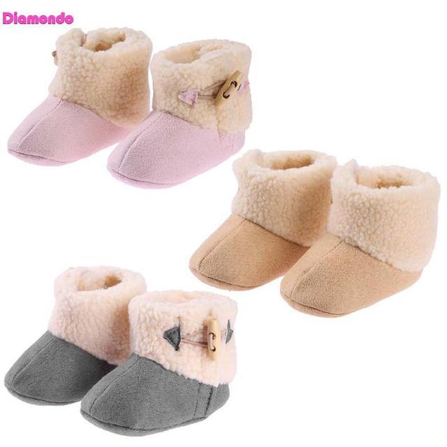 € 3.5 18% de DESCUENTO Moda invierno Bebé niñas Multicolor caliente botas recién nacido algodón Fleece antideslizante nieve al aire libre infantil