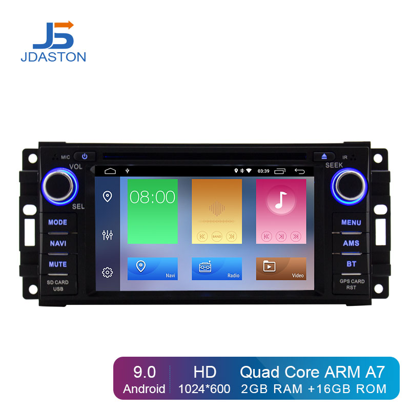 JDASTON Android 9.0 lecteur multimédia de voiture pour Dodge Chrysler Sebring Jeep boussole Commander Grand Cherokee Wrangler GPS Radio