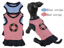 Pet Products Dog Supplies color Puppy Summer Red blue striped navy vest Dress Clothes Clothing