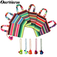 OurWarm 6pcs Mexican Party Burlap Gift Bag with Boho Tassel Decor Wedding Bags Fiesta Theme Handle