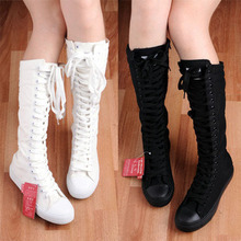 2015 spring high canvas shoes size(35-39)white+black  fashion  GaoTong flat  ladies' shoes dancing for women