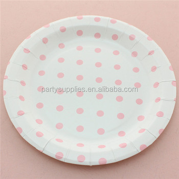 "Free Shipping 240pcs 9"" Round Party Paper Plates Baby Pink Color Paper Plate Polka Dot  Striped Chevron Disposable Paper Plates"