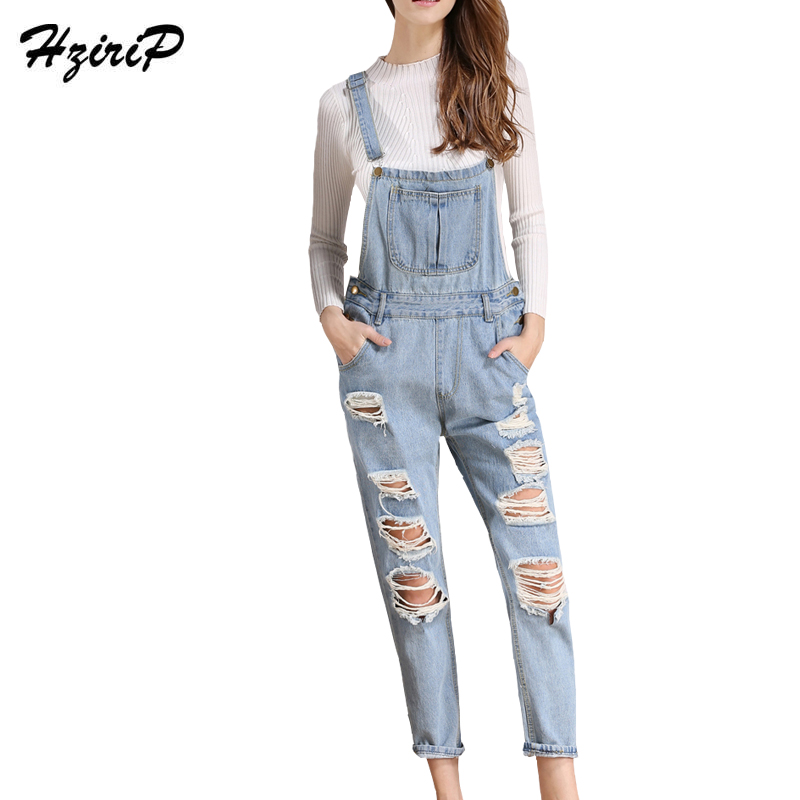 Hzirip New Arrival 2017 Women Jeans Bodysuits European Style Summer Autumn Girl Denim Overalls Hole Washed Jumpsuit Plus Size