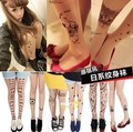 Envío libre Impresión tatuaje falso tatuaje ultrafino del pantyhose transparente sexy mujeres medias finas