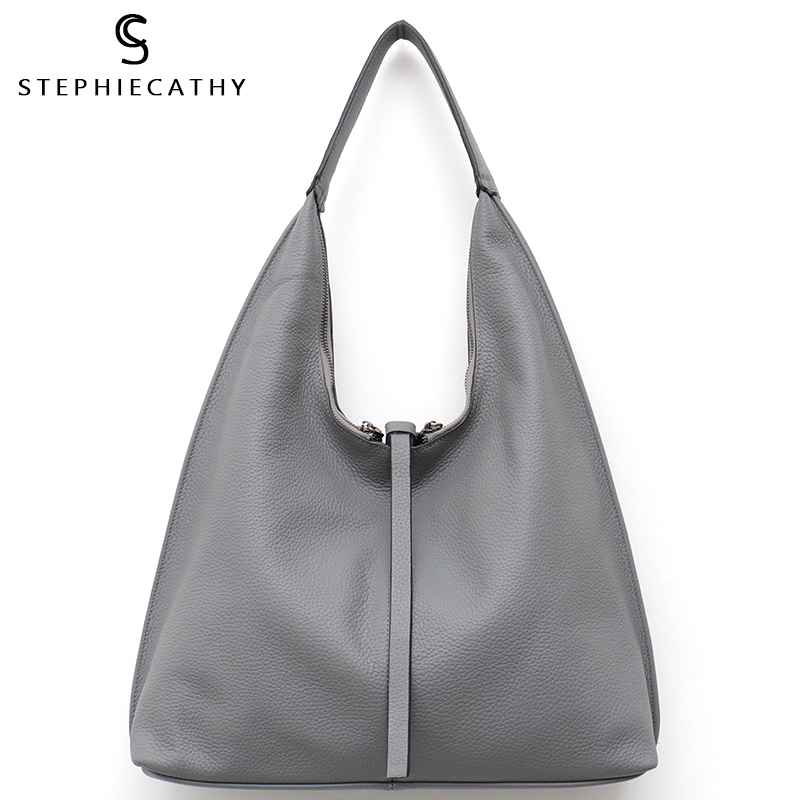 SC Genuine Leather Hobo Bags Women Casual Large Tote String Cowhide Shoulder Bags High Quality Brand