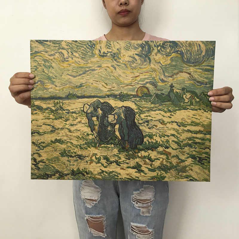 Mling 1 قطعة 51.5x36 سنتيمتر الرجعية كرافت ورقة فان جوخ سلسلة المشارك الحديثة الفن التجريدي النفط اللوحة بار مقهى جدار ملصقا الزخرفية