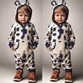 Милые Дети Детские Мальчики Девочки Теплый Младенческой Ползунки Комбинезон Прекрасный Серый Медведь С Капюшоном Хлопка Одежды Осень Наряды