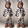 Cute Kids Baby Boys Girls Warm Infant Romper Jumpsuit Lovely Bear Gray Hooded Cotton Clothes Autumn Outfits