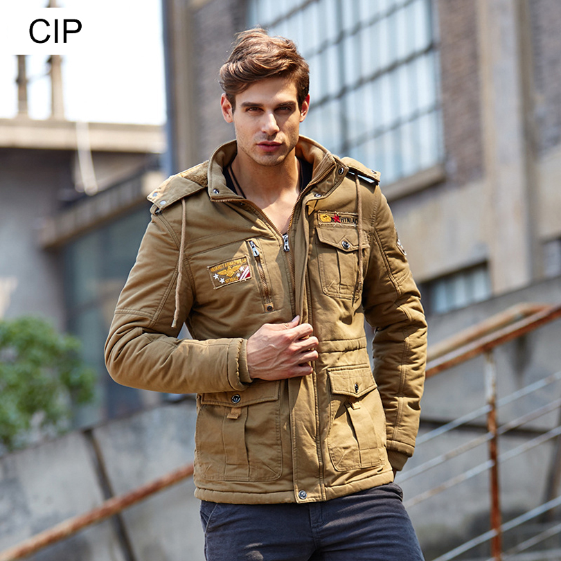 ФОТО 2016 Winter Mens Military Coat Ma1 Bomber Jacket Parka Hombre Thick Warm Casual Hooded Padded Coat Men Wadded Jacket Style