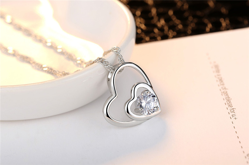 LUKENI Trendy Heart Crystal Women Pendants Necklace Jewelry Charm 925 Sterling Silver Necklace Girl Christmas Lover Lady Gift
