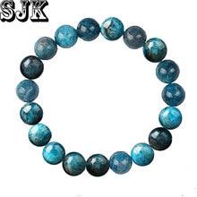 Pedra natural azul apatite redonda contas de fósforo pulseira elástica 4 6 8 10 12mm cura pulseira feminino jóias presentes