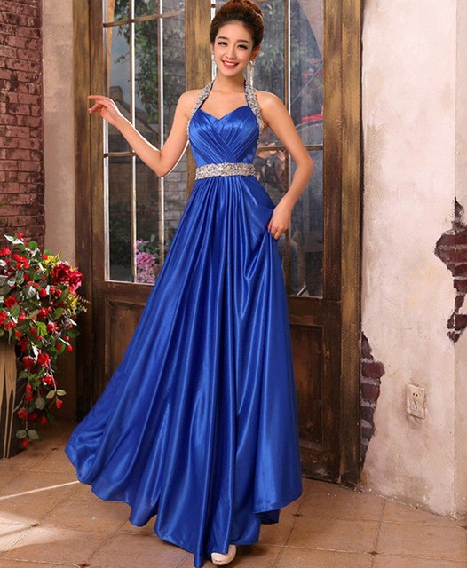 72172ad20a2 Autumn Long Royal Blue Satin Dress For Wedding Bridal Women Elegant Halter  Backless Dress Evening Party
