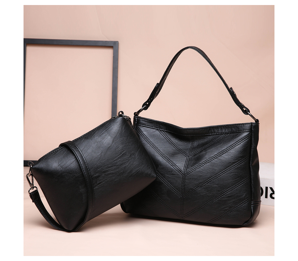 Luxury Hobos Handbag Shoulder Crossbody Bags For Women Ladies Large Tote Bucket Hobo Bags Set Soft Leather Sac Femme