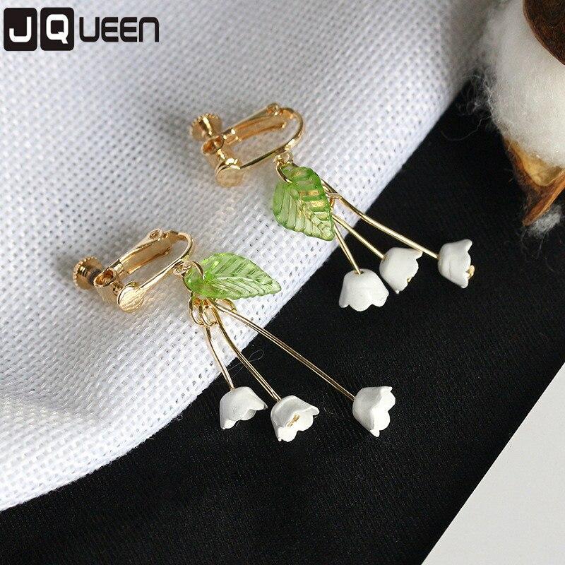 Fresh Flower Korean Little Woman Orchid Lily Convallaria Dangle Long Earring Ear Clip Cute Beautiful Earrings 1 Pair For Women