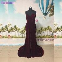 New Design Burgundy Velvet Evening Dresses Small V Neck Mermaid Evening Gown Long Prom Dresses