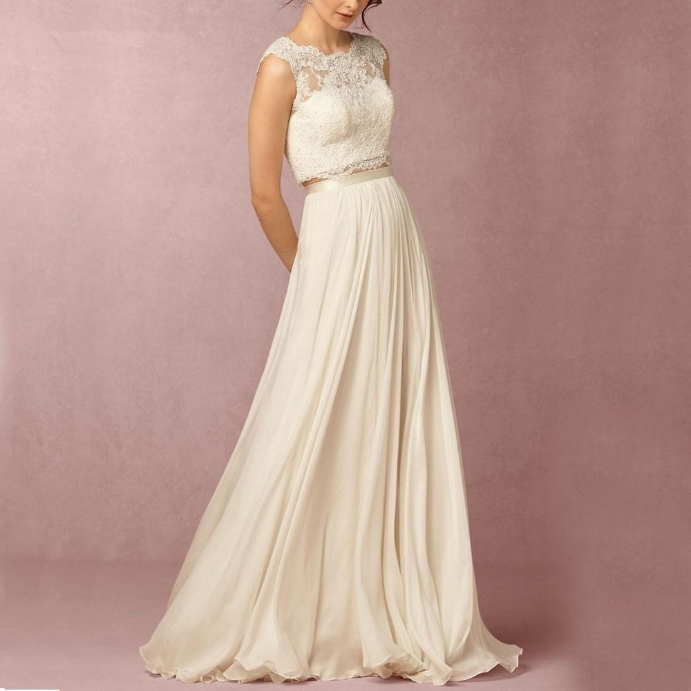 2018 Vestido De noiva Two Piece Lace Boho Bohemian party prom gown Sleeveless Fashionable Robe De Mariage   Bridesmaid     Dresses