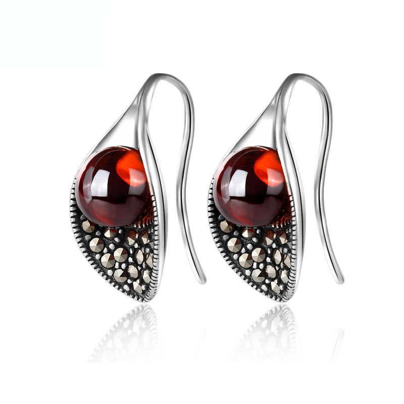 Женские серьги подвески BESTLYBUY из стерлингового серебра S925 пробы с красным