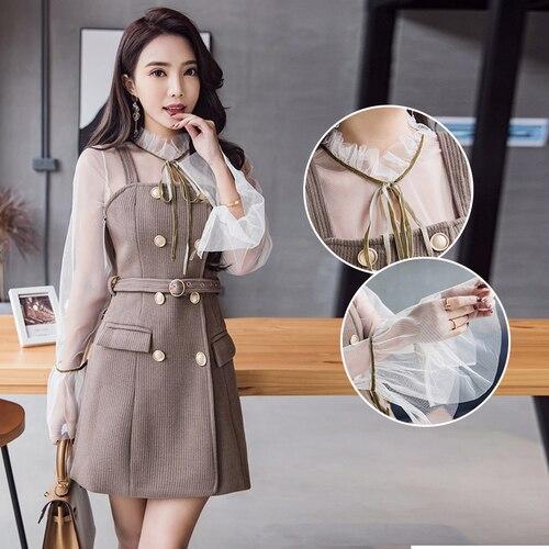 Mini Picture Mélange Costumes Maille 2019 Blouse Nouveauté Flare Manches Slim Longues Top Color Pièces Coréen breasted Robe Style Ensemble 2 Double À 4TwUARx