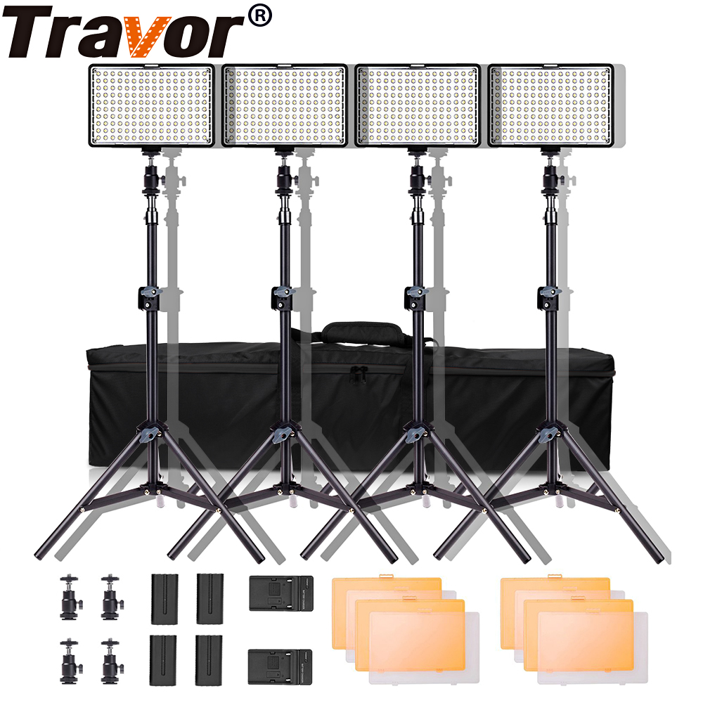 Travor TL 160 Video Light 4 set With Tripod Dimmable 5600K Studio Photography Lighting LED Photo Lamp for Wedding News Interview