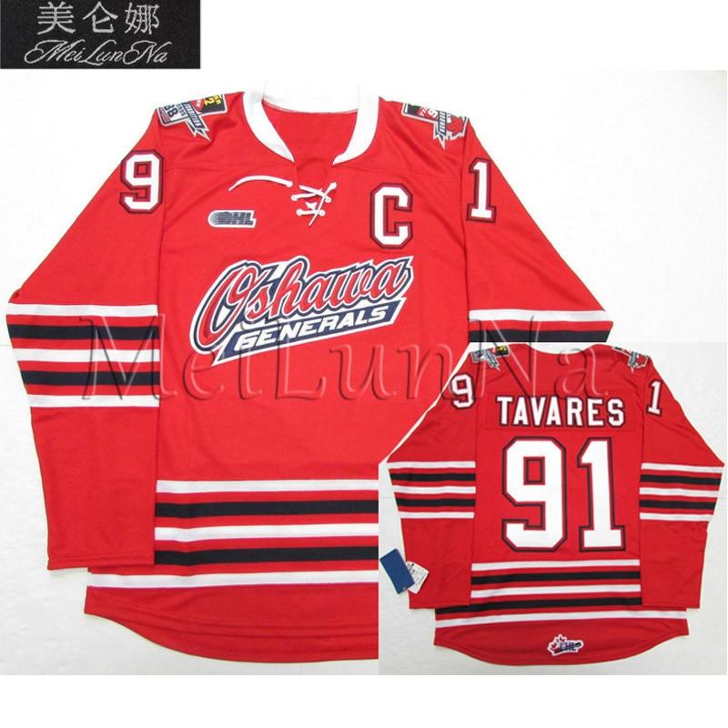 MeiLunNa Custom OHL Oshawa Generals Jerseys 88 Eric Lindros 91 John Tavares 2 Bobby Orr 10 Alex Delvecchio Sewn On Any Name NO.