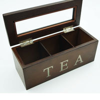 23x9x9cm 3 Compartment Home Wooden Compartments Tea Coffee Jewelry Gift Storage Box Wood Sugar Packet Container Organizer