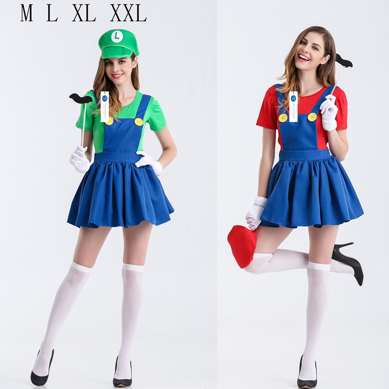 ManLuYunXiao 2017 Cosplay Super Mario Roleplay Halloween Party Mario Uniforms Red Green Dress Cosplay Women Dress Adult