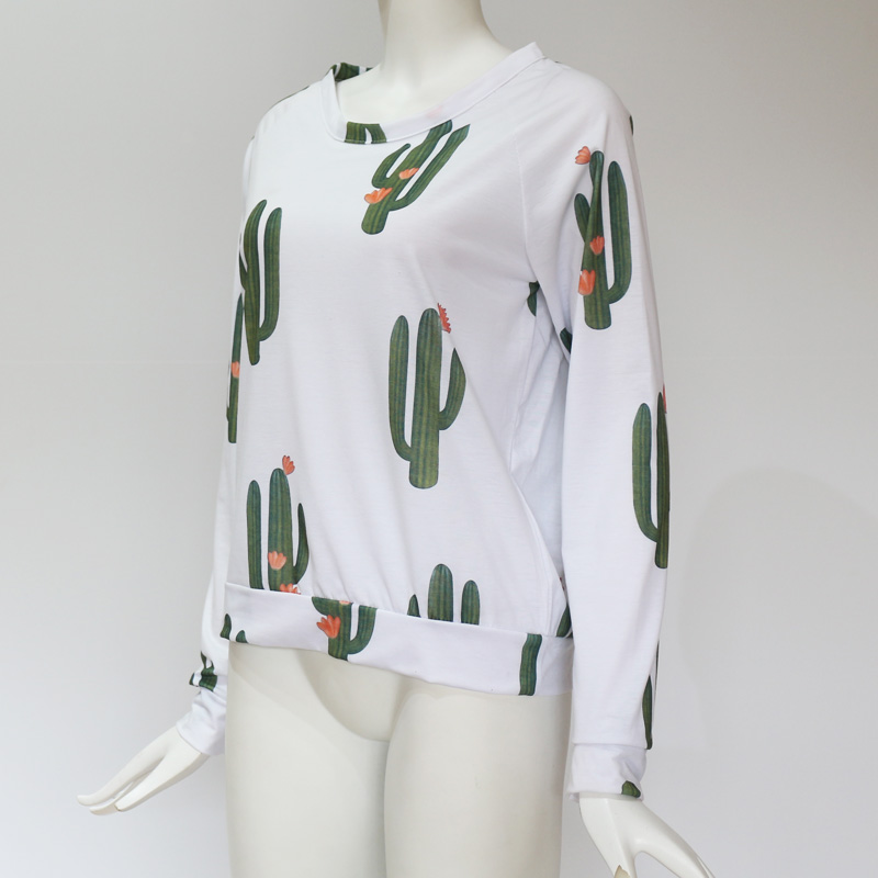 15fdc8f70 IYAEGE Cactus Print Blouse Women 2018 Casual Long Sleeve Shirt Ladies Tops  Cute White Blouse Basic Tee Shirt Femme Blusas Mujer-in Blouses & Shirts  from ...