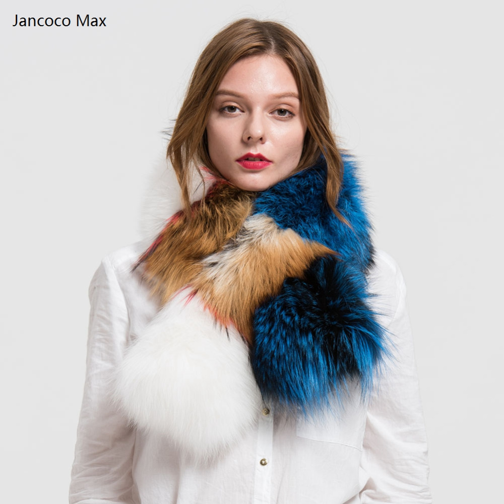 Jancoco Max 2019 Real Fur Large Scarves Women Genuine Fox Fur Scarf Fashion Multicolour Lining 90cm