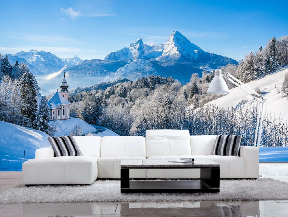 Kustom gaya Eropa Salju Gunung Pemandangan Indah Wallpaper