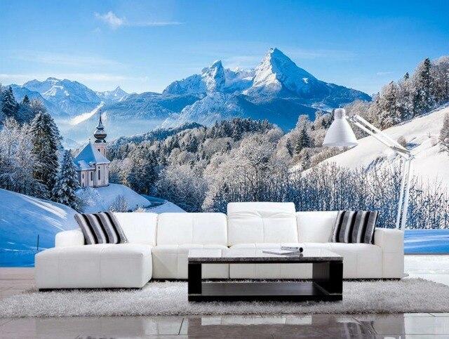 Personnalisé Européenne style Montagne De Neige Belle Paysage Fonds ...