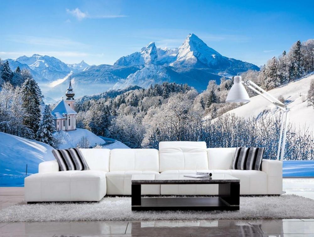 Style Europeen Personnalise Neige Montagne Beau Paysage