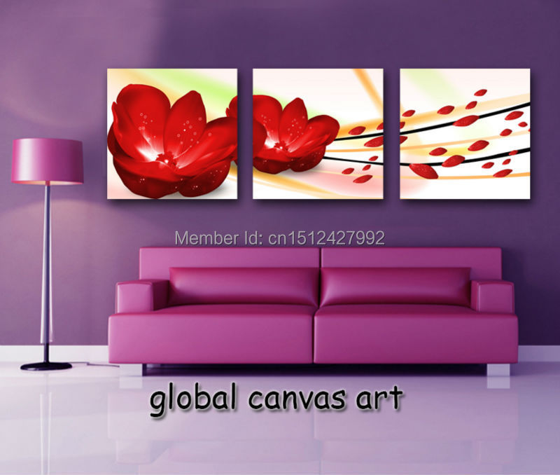 Framed new 3 panel Modern Home Decoration wall art picture big red ...