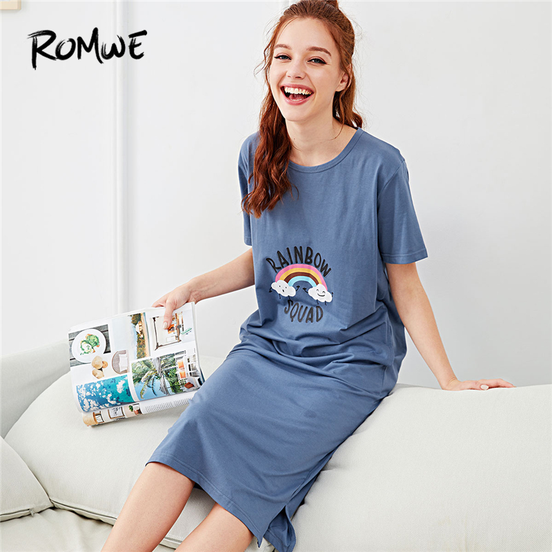 ROMWE Rainbow & Letter Print Night Dresses Blue Cartoon Women 2018 Summer Nightwear Casual Round Neck Short Sleeve Sleepwear