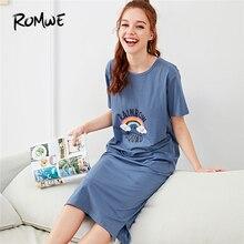 ROMWE Rainbow Letter Print Night Dresses Blue Cartoon Women 2019 Summer Nightwear Casual Round Neck Short