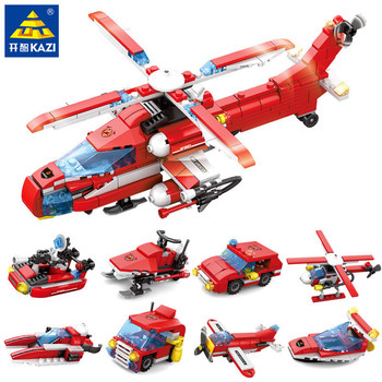 8 unids/lote fuego de ciudad helicóptero motor bombero barco camión coche conjuntos de bloques de construcción Playmobil ladrillos juguetes educativos para niños