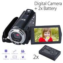 Ordro hdv-v12 3.0 дюйма ЖК-дисплей CMOS Сенсор 1080 P цифровой Камера видеокамера 16x цифровой зум DVR Ночное видение микрофон + 2 батарея