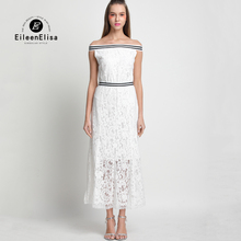 Long Summer Dress 2017 Woman Luxury Lace Off Shoulder White Runway Dresses Brand