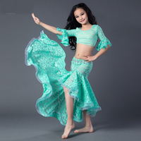 Belly Dance Tops 2 Pieces Top Dress Egyptian Belly Dance Costume Green Red Rose Bellydance Costume